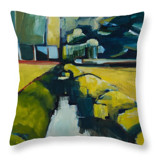 Contemporary Landscape Throw Pillow featuring the painting Viewpoint by Michele Norris