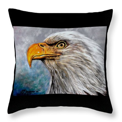 Eagle Throw Pillow featuring the painting Vigilant Eagle by Patricia L Davidson
