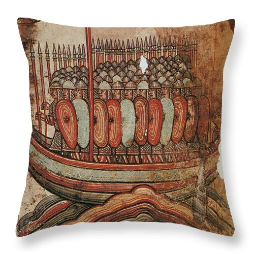910s Throw Pillow featuring the painting Viking Invasion 919 by Granger