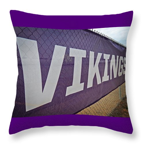 Nfl Throw Pillow featuring the photograph Vikings Banner by Kyle West