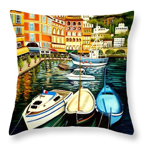 Landscape Throw Pillow featuring the painting Villa Franche by Elizabeth Robinette Tyndall