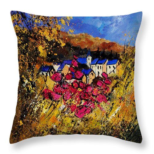 Flowers Throw Pillow featuring the painting Village 450808 by Pol Ledent