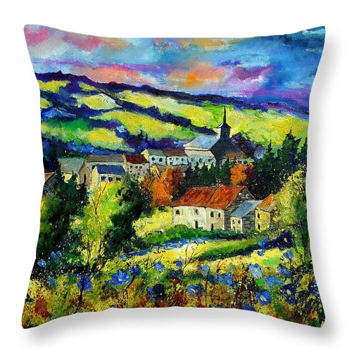 Landscape Throw Pillow featuring the painting Village And Blue Poppies by Pol Ledent