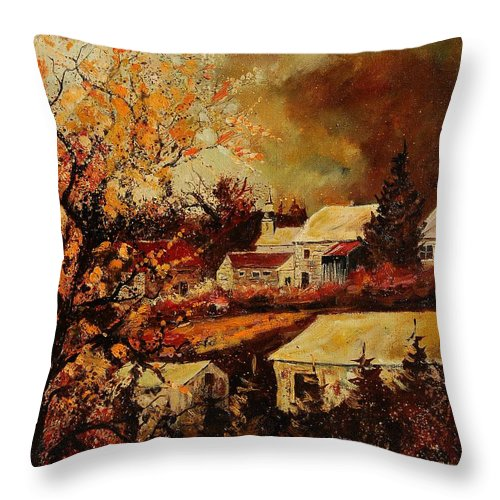 Tree Throw Pillow featuring the painting Village Curfoz by Pol Ledent