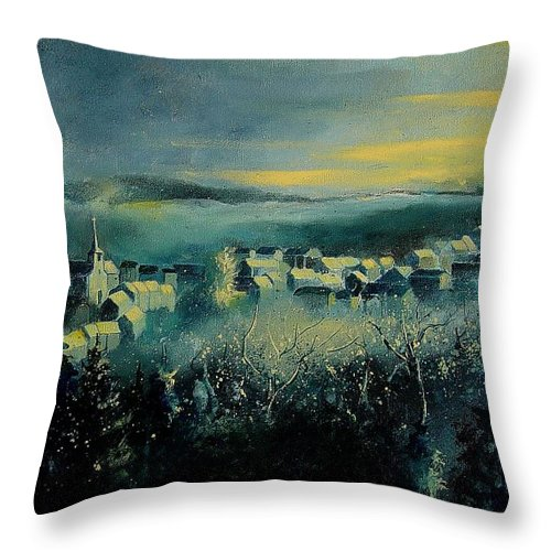 Village Throw Pillow featuring the painting Village In A Misty Morning by Pol Ledent