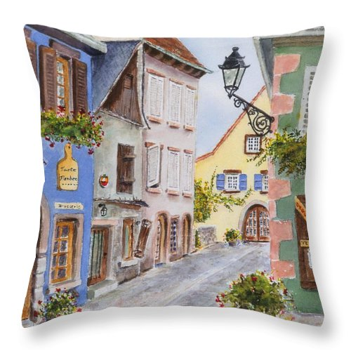 Village Throw Pillow featuring the painting Village In Alsace by Mary Ellen Mueller Legault