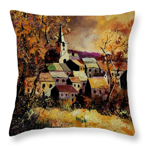 River Throw Pillow featuring the painting Village In Fall by Pol Ledent