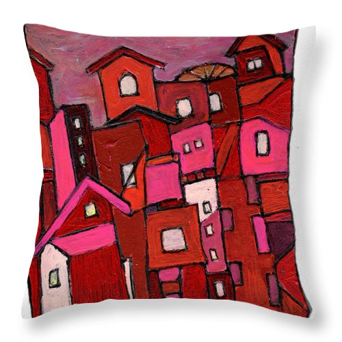 Village Throw Pillow featuring the painting Village In Pink by Wayne Potrafka