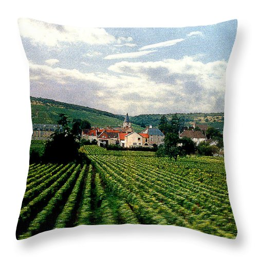 Vineyards Throw Pillow featuring the photograph Village In The Vineyards Of France by Nancy Mueller