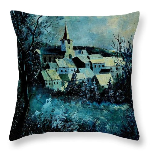 River Throw Pillow featuring the painting Village in winter by Pol Ledent