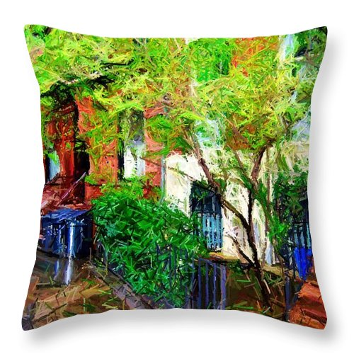 Greenwich Village Throw Pillow featuring the digital art Village Life Sketch by Randy Aveille