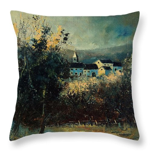 Landscape Throw Pillow featuring the painting Village by Pol Ledent