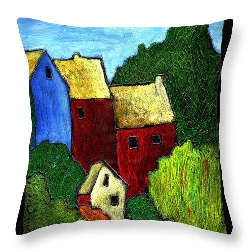 Village Throw Pillow featuring the painting Village Scene by Wayne Potrafka