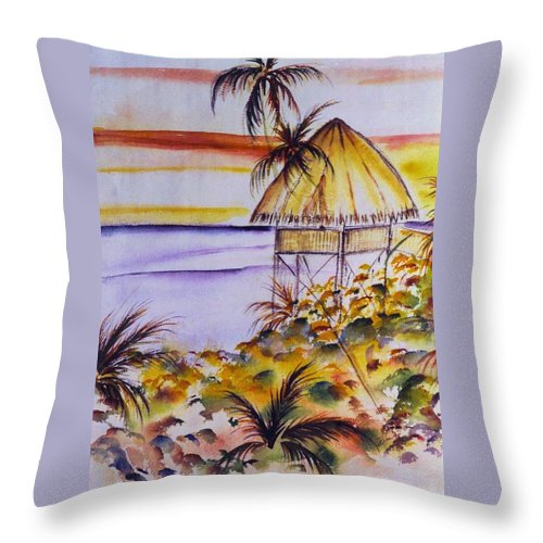 Seascape Throw Pillow featuring the painting Village Sunset by Dina Holland