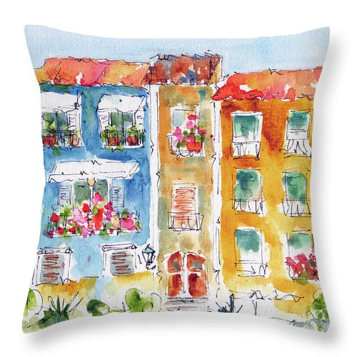 Impressionism Throw Pillow featuring the painting Villajoyosa Spain by Pat Katz
