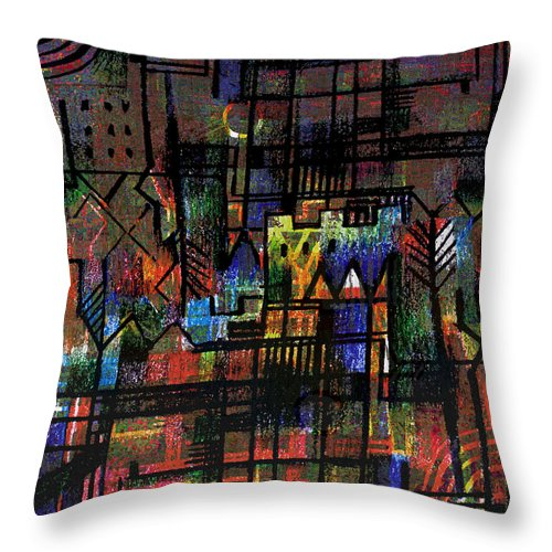 Centre Ville Throw Pillow featuring the drawing Ville Francaise by Andy Mercer