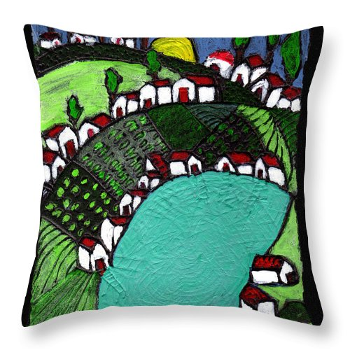 Village Throw Pillow featuring the painting Villlage By The Pond by Wayne Potrafka