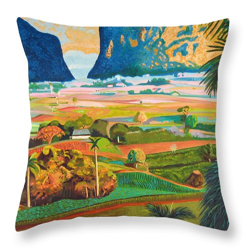 Cuban Art Throw Pillow featuring the painting Vinales by Jose Manuel Abraham