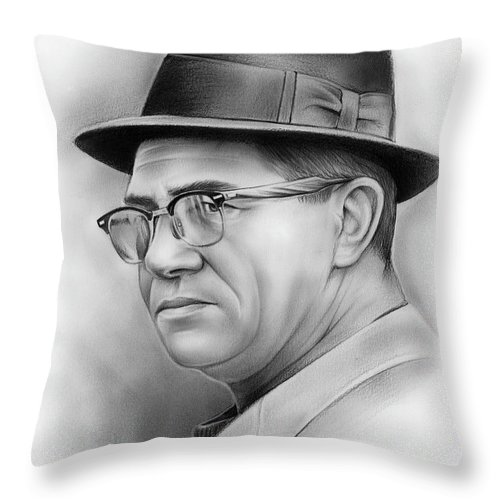 Vince Lombardi Throw Pillow featuring the drawing Vince Lombardi by Greg Joens