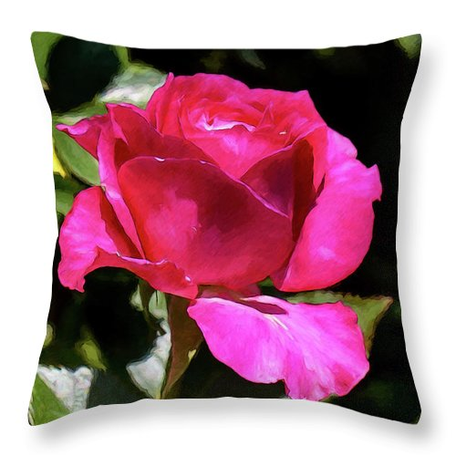 Flowers Throw Pillow featuring the photograph Vincent Red Rose by John Haldane