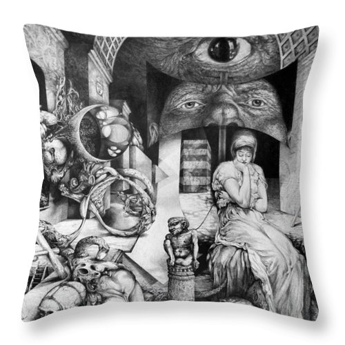 Surrealism Throw Pillow featuring the drawing Vindobona Altarpiece IIi - Snakes And Ladders by Otto Rapp
