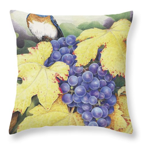 Grapes Throw Pillow featuring the drawing Vineyard Blue by Amy S Turner