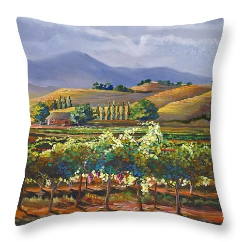 Vineyard Throw Pillow featuring the painting Vineyard In California by Heather Coen