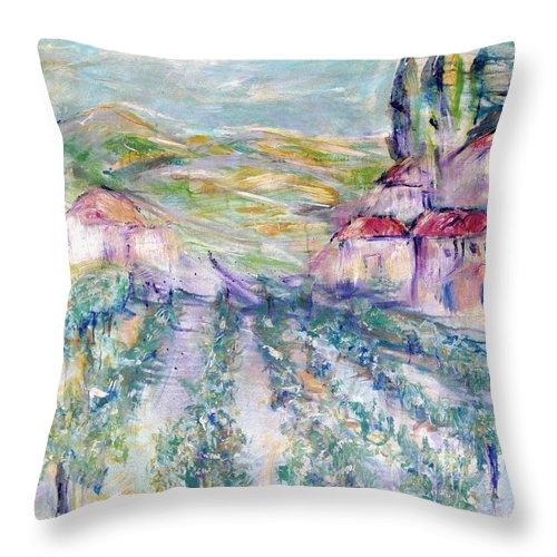 Vineyard Throw Pillow featuring the painting Vineyard by Jeanie Watson