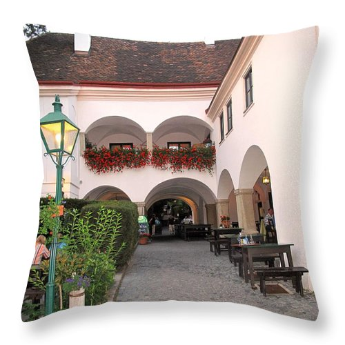 Wine Throw Pillow featuring the photograph Vineyard Restaurant by Ian MacDonald