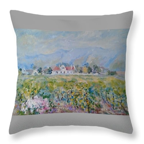 Grey Sky Throw Pillow featuring the painting Vineyards At Excelsior In Summer by Elinor Fletcher