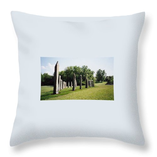 Historic Sculpture From 1999 Throw Pillow featuring the sculpture Vinland by Jarle Rosseland