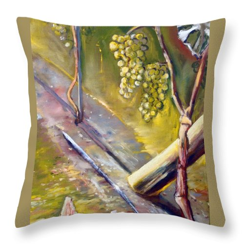 Landscape Throw Pillow featuring the painting Vinnej Cvok by Pablo de Choros