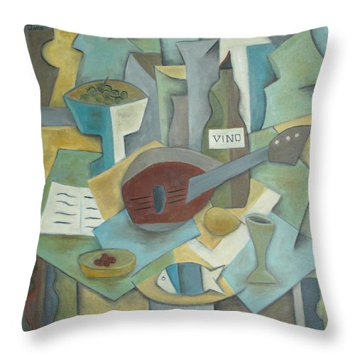Cubism Throw Pillow featuring the painting Vino by Trish Toro