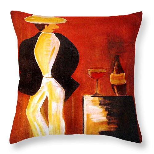 Italian Throw Pillow featuring the mixed media Vinorosso by Helmut Rottler