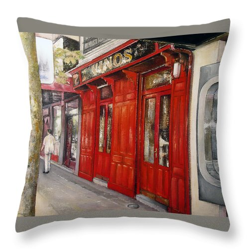 Urban Throw Pillow featuring the painting Vinos Sagasta by Tomas Castano