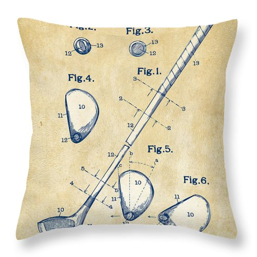 Golf Throw Pillow featuring the digital art Vintage 1910 Golf Club Patent Artwork by Nikki Marie Smith