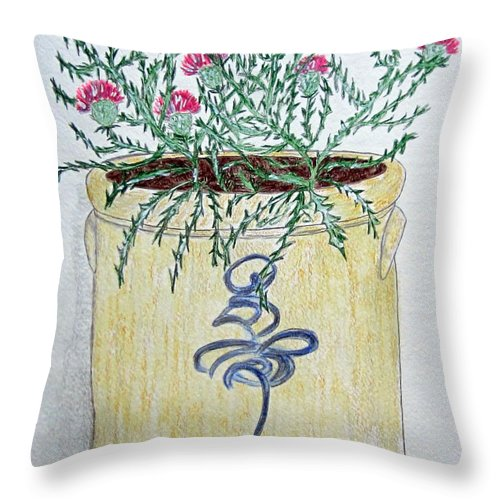 Vintage Throw Pillow featuring the painting Vintage Bee Sting Crock And Thistles by Kathy Marrs Chandler