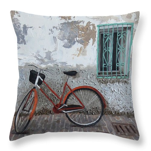 Vintage Throw Pillow featuring the painting Vintage Series #3 Bike by Jan Christiansen