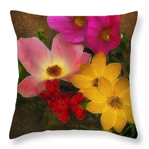 Flower Throw Pillow featuring the photograph Vintage Bouquet by Ed A Gage
