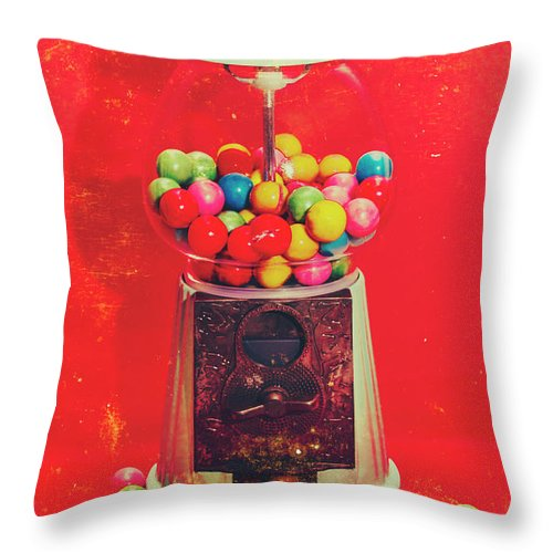 Retro Throw Pillow featuring the photograph Vintage Candy Store Gum Ball Machine by Jorgo Photography - Wall Art Gallery