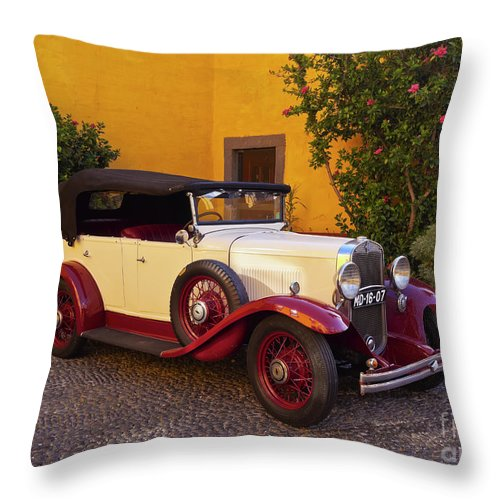 Portugal Throw Pillow featuring the photograph Vintage Car In Funchal, Madeira by Karol Kozlowski