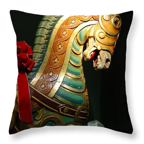 Carousel Horse Throw Pillow featuring the photograph Vintage Carousel Horse by Suzanne Gaff