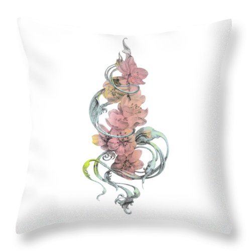 Drawing Throw Pillow featuring the painting Vintage Cherry Without Background by Irina Effa