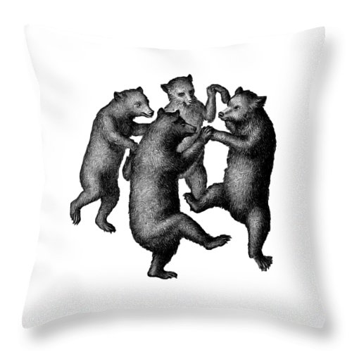 More From Edward Fielding Throw Pillow featuring the drawing Vintage Dancing Bears by Edward Fielding