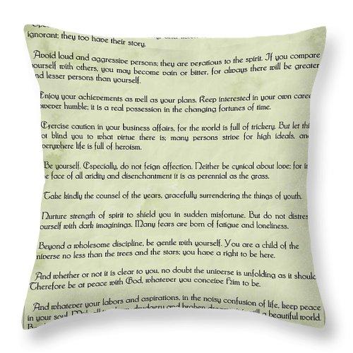 Desiderata Throw Pillow featuring the digital art Vintage Desiderata by Olga Hamilton
