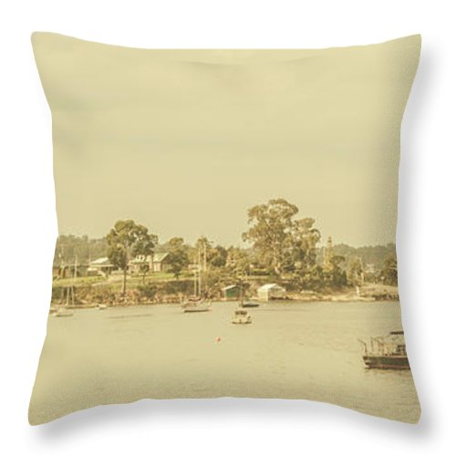 Nautical Throw Pillow featuring the photograph Vintage Dover Harbour Tasmania by Jorgo Photography - Wall Art Gallery