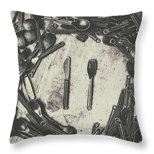 Old Throw Pillow featuring the photograph Vintage Food Service by Jorgo Photography - Wall Art Gallery