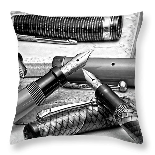 Antique Throw Pillow featuring the photograph Vintage Fountain Pens by Tom Mc Nemar
