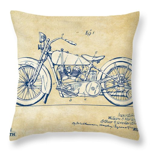 Harley-davidson Throw Pillow featuring the digital art Vintage Harley-davidson Motorcycle 1928 Patent Artwork by Nikki Smith
