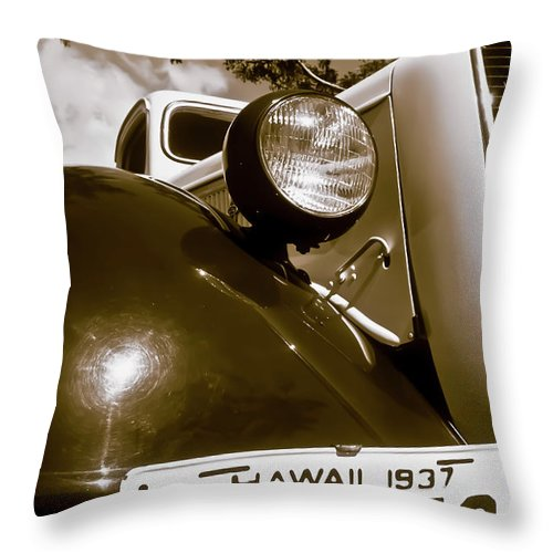 1937 Ford Throw Pillow featuring the photograph 1937 Ford Pickup Truck Maui Hawaii by Jim Cazel